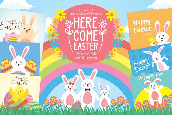 Easter greeting cards elements illustrations creative market m4hsunfo