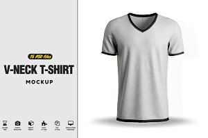 V-neck T-Shirt Mock-up