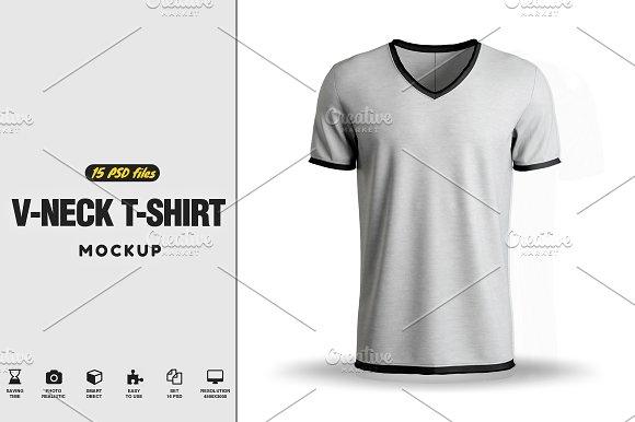 Download V-neck T-Shirt Mock-up