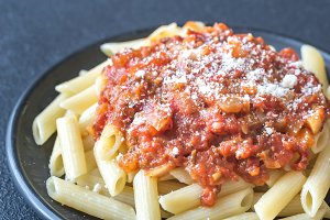 Portion of penne with arrabbiata