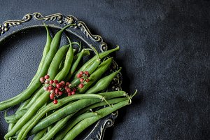 Still life with green beans