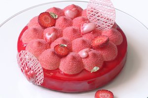 Contemporary Strawberry Mousse Cake