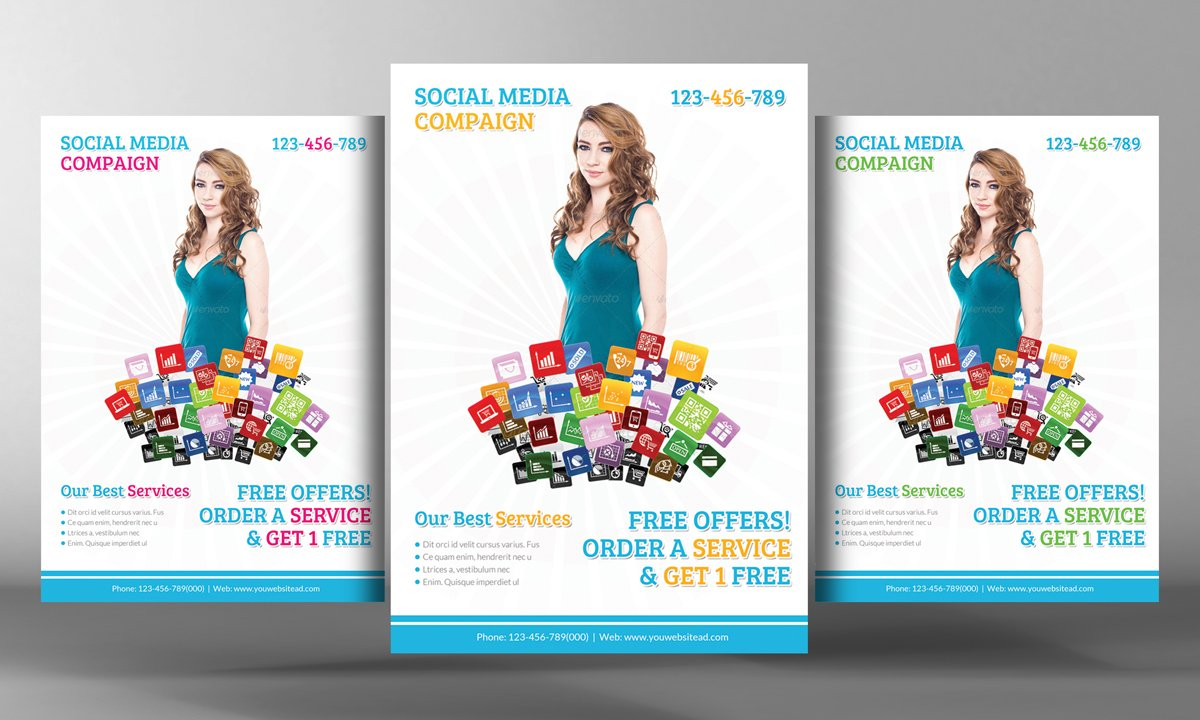 Social Media Marketing Flyer Flyer Templates Creative Market - Free marketing brochure templates