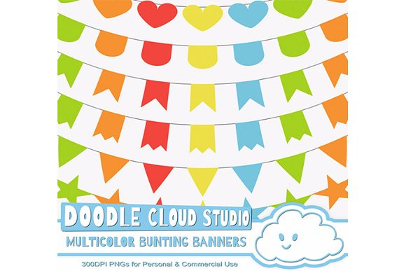 Multicolor Bunting Banners Cliparts