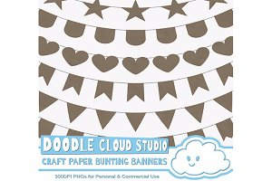 Kraft Paper Bunting Banners Cliparts