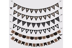 Halloween Gothic Bunting Banners .