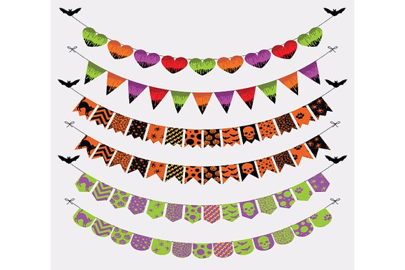 Halloween Colorful Bunting Banners