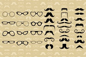 Hipster style, glasses, mustache