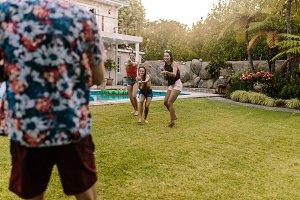 Friends having fun playing