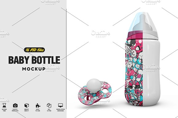 Baby Bottle and Pacifier Vol1 Mockup
