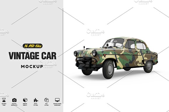 Vintage Car Mockup-Graphicriver中文最全的素材分享平台
