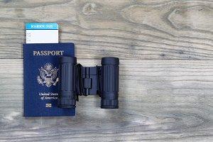 USA Passport and Binoculars