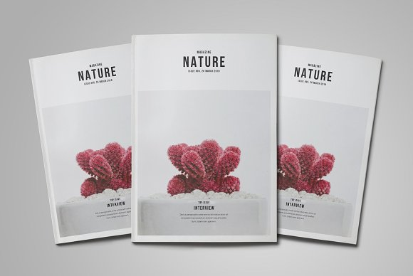 Nature Magazine Magazine Templates Creative Market Fascinating Magazine Holder Template