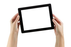 Holding Blank Computer Tablet