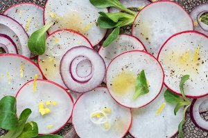 Top view of a radish salad