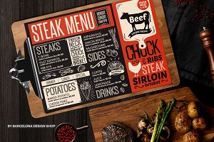 FREE! Trifold + Steak Food Menu