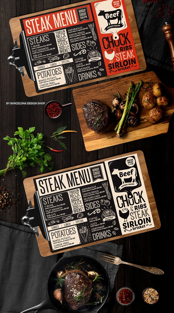 Steak Food Menu Template