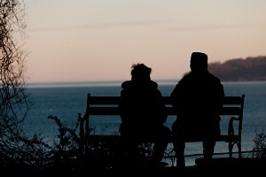 Old couple silhouette