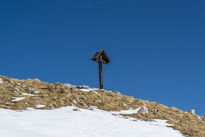 Wooden Cross at top of Mountain
