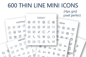 600 vector thin line mini icons set.