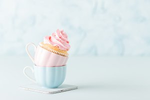 Cupcake with a pastel pink cream