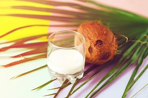 coconut milk in a glass. summer. fru