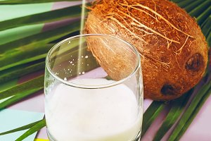 coconut milk. coconut. exotic fruit.