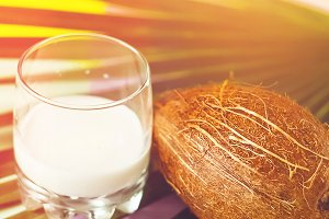 toning. coconut. in a glass of cocon