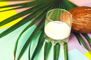 a glass with coconut milk. coconut.