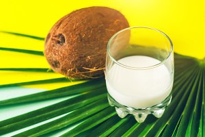 coconut milk and coconut. palm leaf.