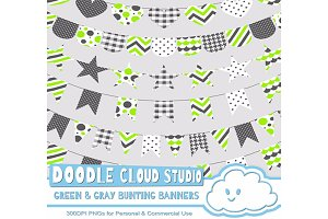 Green & Gray Patterns Bunting Banner