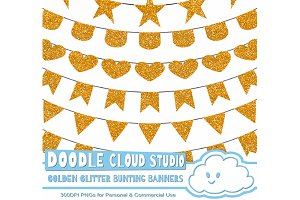 Golden Glitters Bunting Banners .