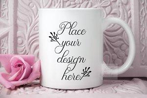 White Coffee mug mockup 11oz cup psd