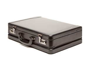 Large Black Briefcase Isolated