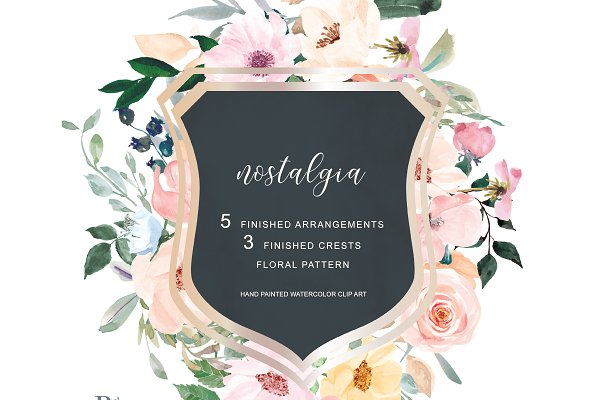 Watercolor Blush Florals & Crests