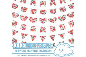 Flowery Bunting Banners Cliparts .