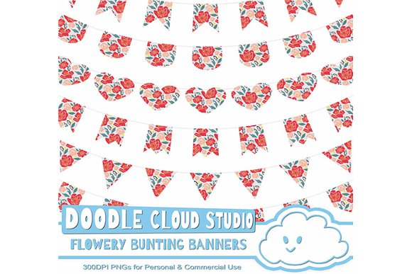 Flowery Bunting Banners Cliparts