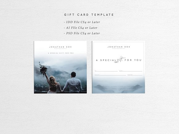 photographer gift card template card templates creative market