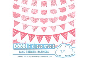 Coral Lace Burlap Bunting Banners