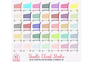 Colorful Shopping Cart Clipart