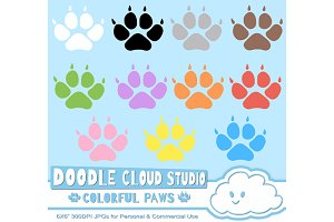 Colorful Paw Prints Cliparts Dog/Cat