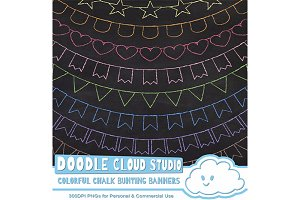 Colorful Chalk Bunting Banners