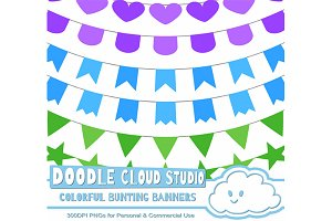 Colorful Bunting Banners Cliparts