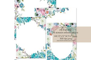 Watercolor Border Arrangements