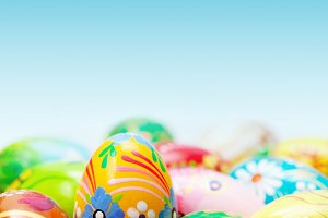 Easter eggs collection on blue sky