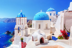 Oia town on Santorini island, Greece