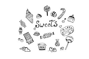sweets theme in sketch style