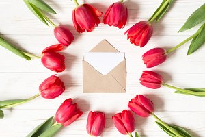 Envelope and frame of red tulips