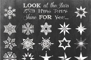 SNOWFLAKE & STARS CLIPART