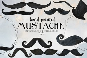 Watercolor Mustaches Clip Art